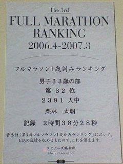 マラソンランキング記録証